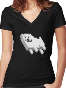 Cute Pixel Dog Women's Fitted V-Neck T-Shirt