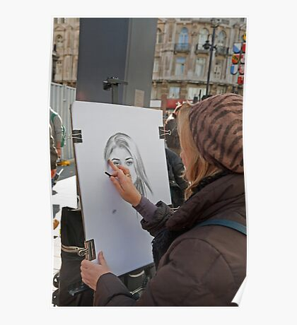 An artist at work in Leicester Square London Poster