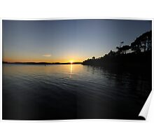 Green point sunset Poster