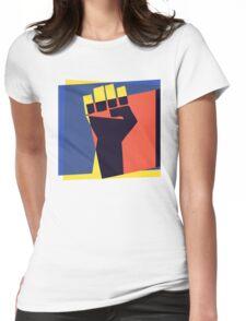 Pop Art Black Power Fist Womens Fitted T-Shirt