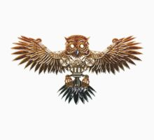 Bronze Steampunk Flying Owl One Piece - Long Sleeve
