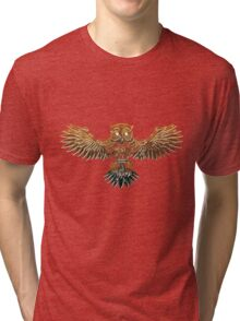 Bronze Steampunk Flying Owl Tri-blend T-Shirt
