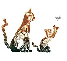 Steampunk bronze cat and kitten by Angelaook