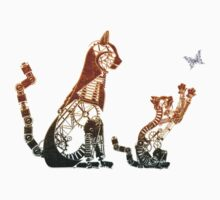 Steampunk bronze cat and kitten Kids Tee