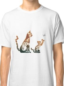 Steampunk bronze cat and kitten Classic T-Shirt