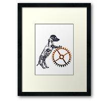 Steampunk Silver Puppy Framed Print