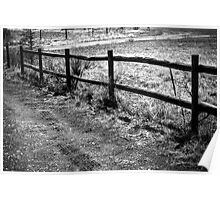 Wood Fence and Tire Tracks Poster