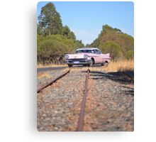 Pink Caddy On Rails Canvas Print