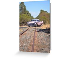 Pink Caddy On Rails Greeting Card