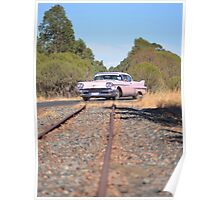 Pink Caddy On Rails Poster