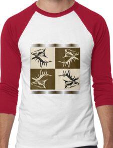 Bull elk collage  Men's Baseball ¾ T-Shirt