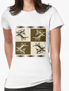 Bull elk collage  Womens Fitted T-Shirt