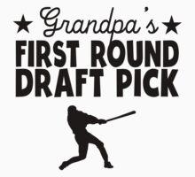 Grandpa's First Round Draft Pick Baseball Kids Tee