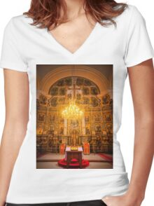 Orthodox Cathedral Hungary Women's Fitted V-Neck T-Shirt