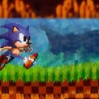 Sonic the Hedgehog retro painted pixel art by smurfted