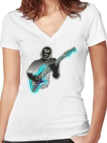 Jazz Guitarist  Women's Fitted V-Neck T-Shirt