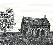 Abandoned Ontario Farmhouse Ink Drawing by Jonathan Baldock
