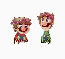 Mario and Luigi wearing Flower Crowns Womens Fitted T-Shirt