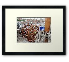 Grand Turk double ship's wheel Framed Print