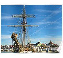 Tall ship at Long Beach Poster