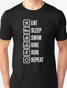 Eat sleep swim bike run repeat - triathlon T-Shirt