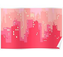 Pink Twilight Cityscape Poster