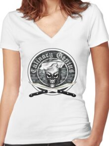 Skull Chef: Culinary Genius Women's Fitted V-Neck T-Shirt