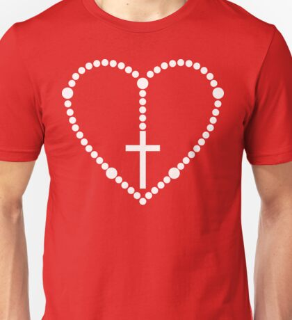Rosary Cross Heart Unisex T-Shirt