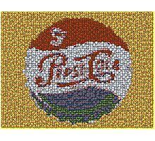 Classic Pepsi Cola sign made of bottle cap mosaic Photographic Print