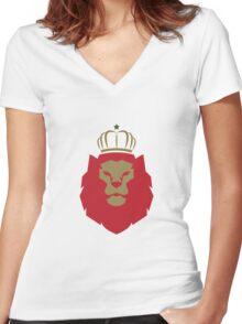 Rasta lion Women's Fitted V-Neck T-Shirt