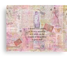 Jane Austen whimsical humor people quote Canvas Print