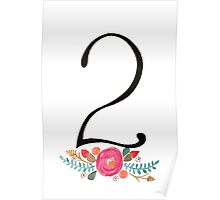 Number 2  - Ink & Watercolour Flowers Poster