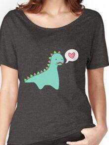 Cute Blue Dinosaur Mustache Women's Relaxed Fit T-Shirt