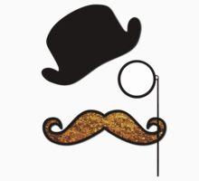Hat, Monocle, Moustache, Glitter - Black Gold  Kids Clothes