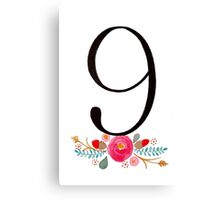 Number 9  - Ink & Watercolour Flowers Canvas Print