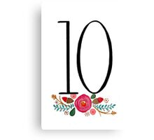Number 10  - Ink & Watercolour Flowers Canvas Print