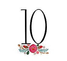 Number 10  - Ink & Watercolour Flowers Photographic Print