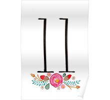 Number 11  - Ink & Watercolour Flowers Poster