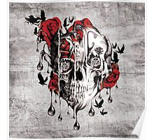Melt down, grunge rose skull Poster