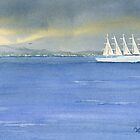 5 Masted Schooner by Marsha Elliott