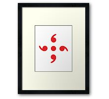 Semicolon; 4-sided Red Framed Print