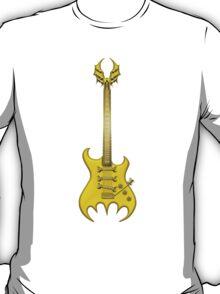 Gold Gothic Bat Guitar T-Shirt