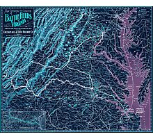 Civil War Maps 1075 Map showing the location of battle fields of Virginia Inverted Photographic Print