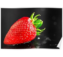 Wet Strawberry Poster
