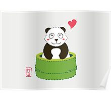 Cute Panda with Bamboo Bathtub  Poster