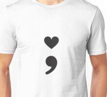 Semicolon; Heart Black Unisex T-Shirt