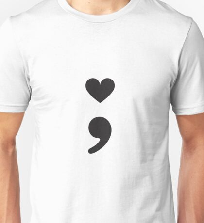 Semicolon; Heart Black Unisex T-Shirt