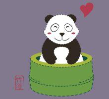 Cute Panda with Bamboo Bathtub  Kids Tee