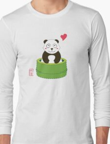 Cute Panda with Bamboo Bathtub  Long Sleeve T-Shirt