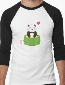 Cute Panda with Bamboo Bathtub  Men's Baseball ¾ T-Shirt